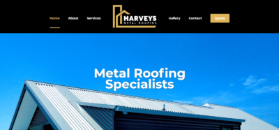 Harveys Metal Roofing Website Design Logo Design